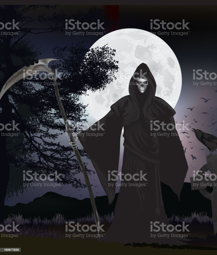 The reaper and crow royalty-free stock vector art