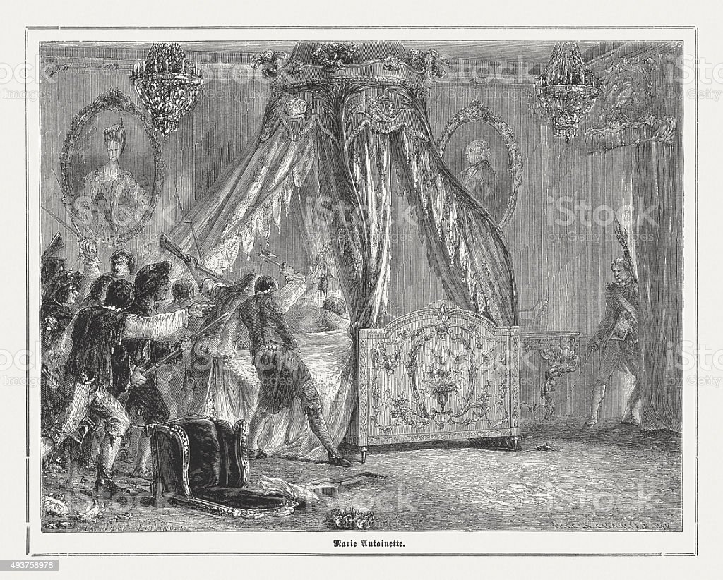 The rebels at Marie Antoinette, published in 1871 vector art illustration