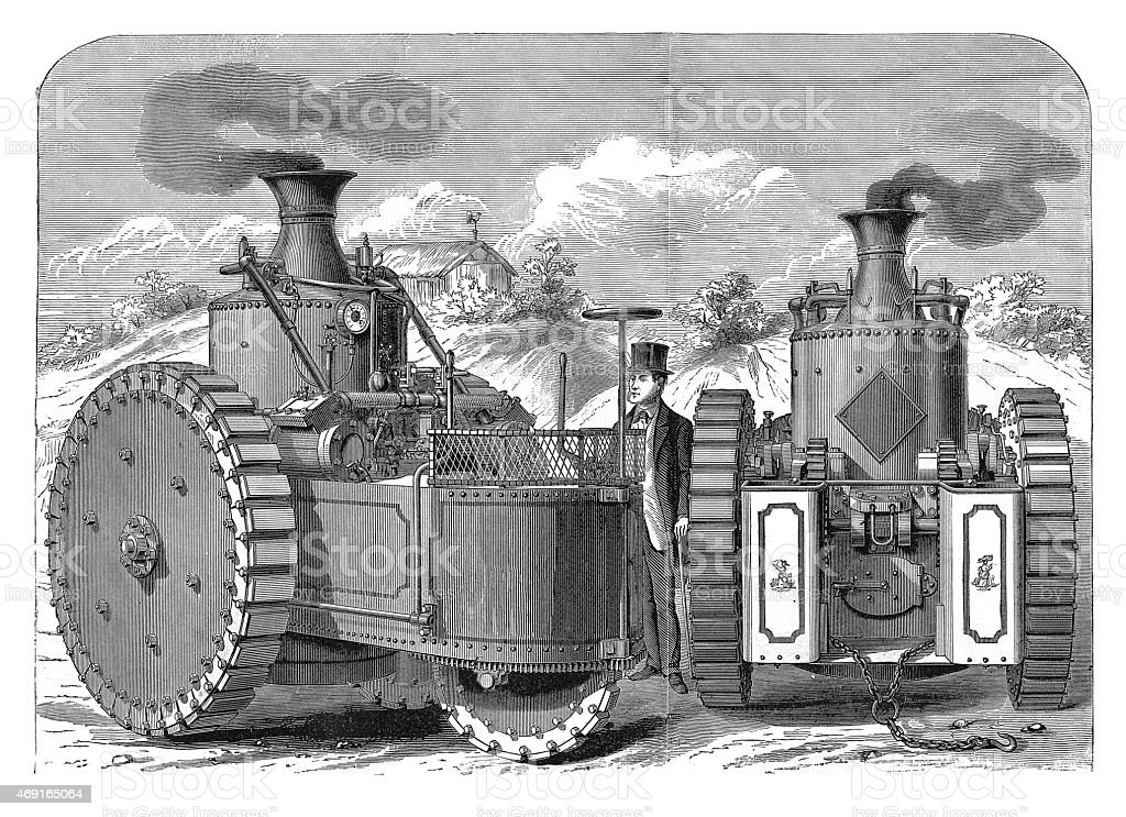 The Road Steamer 'America' (antique engraving) vector art illustration