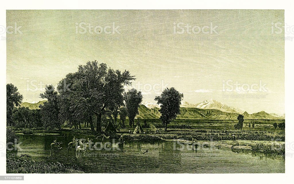 The Rocky Mountains, North America | Historic American Illustrations royalty-free stock vector art