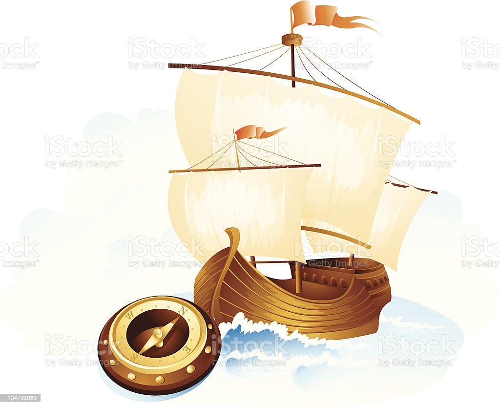 The sailing ship royalty-free stock vector art