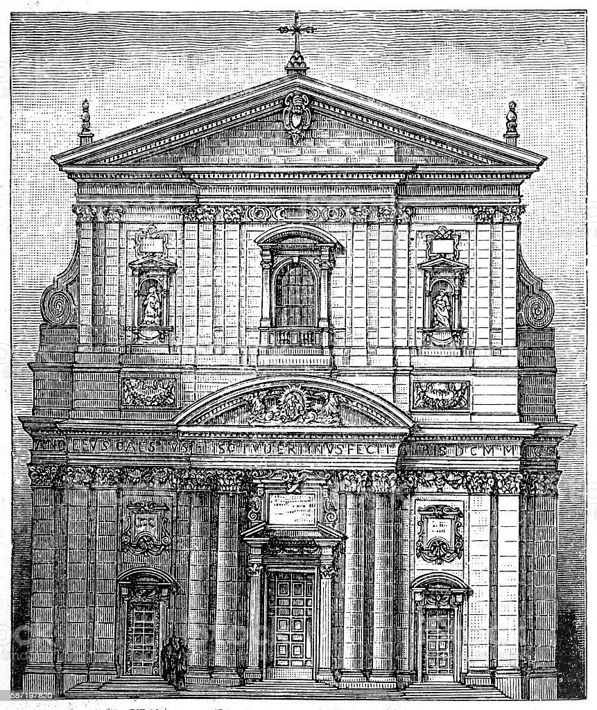 The Santa Maria in Vallicella church in Rome vector art illustration