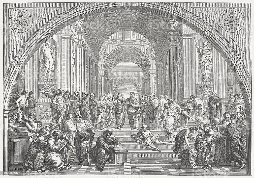 The School of Athens (Vatican) by Raffael, published in 1873 royalty-free stock vector art