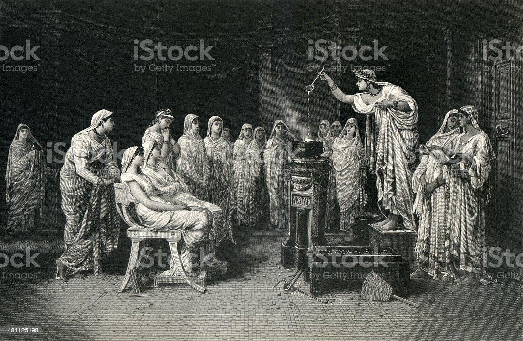 The School of the Vestal Virgins vector art illustration