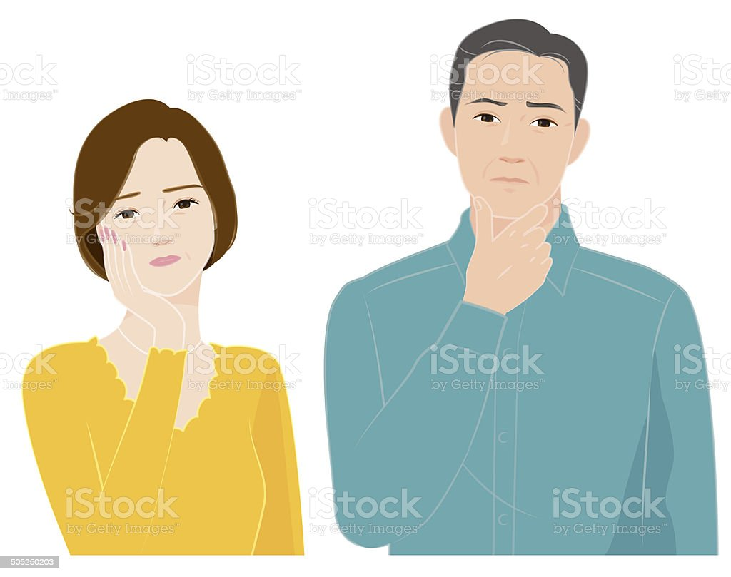 The senior couple who feels a question vector art illustration