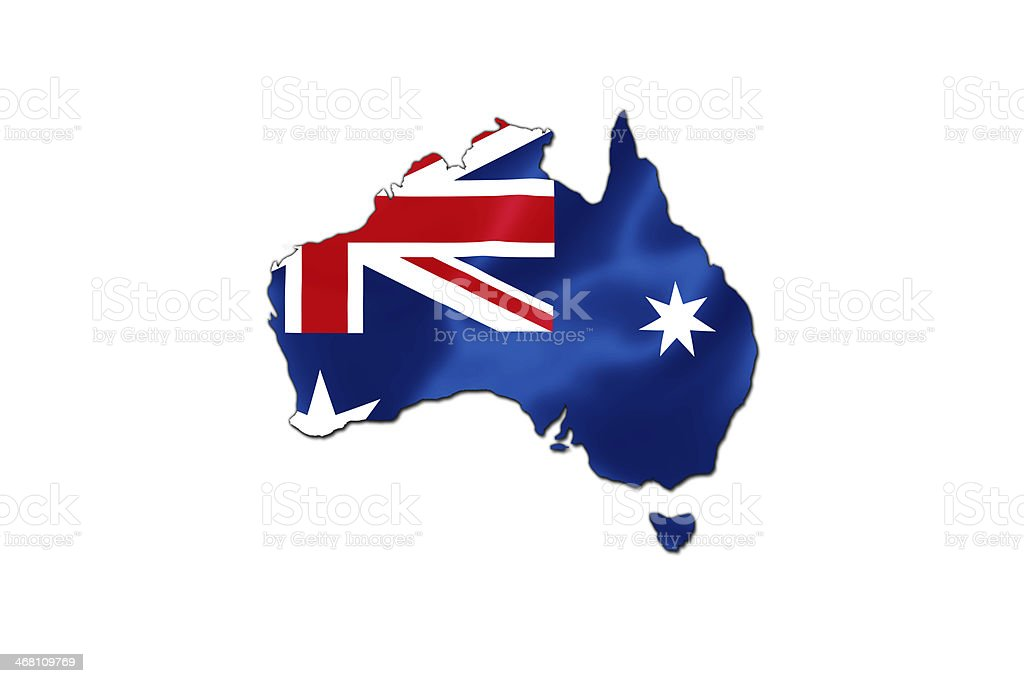 The shape of Australia colored with the Australian flag  vector art illustration