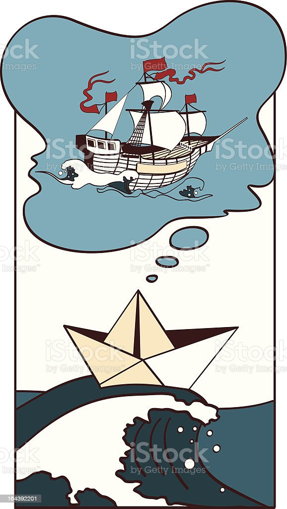The ship dreams vector art illustration