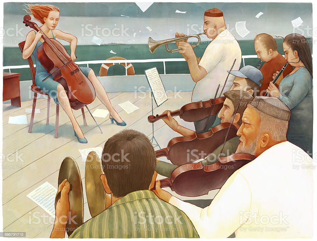 The ship orchestra vector art illustration