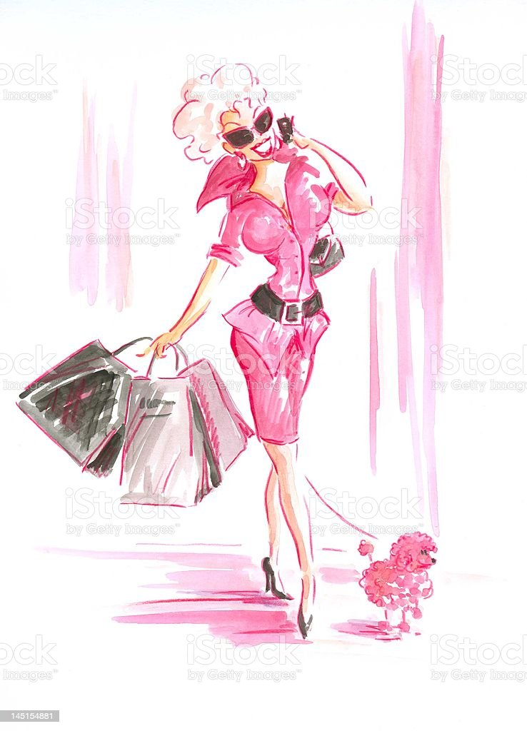 The shopping lady royalty-free stock vector art