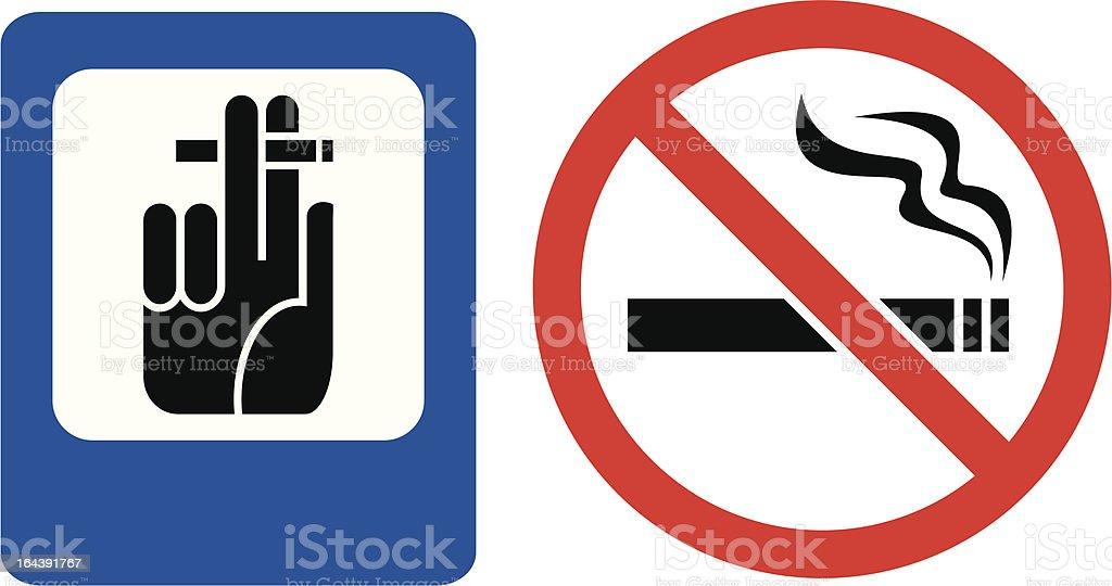 The signs 'No smoking' and 'Smoke here' vector art illustration