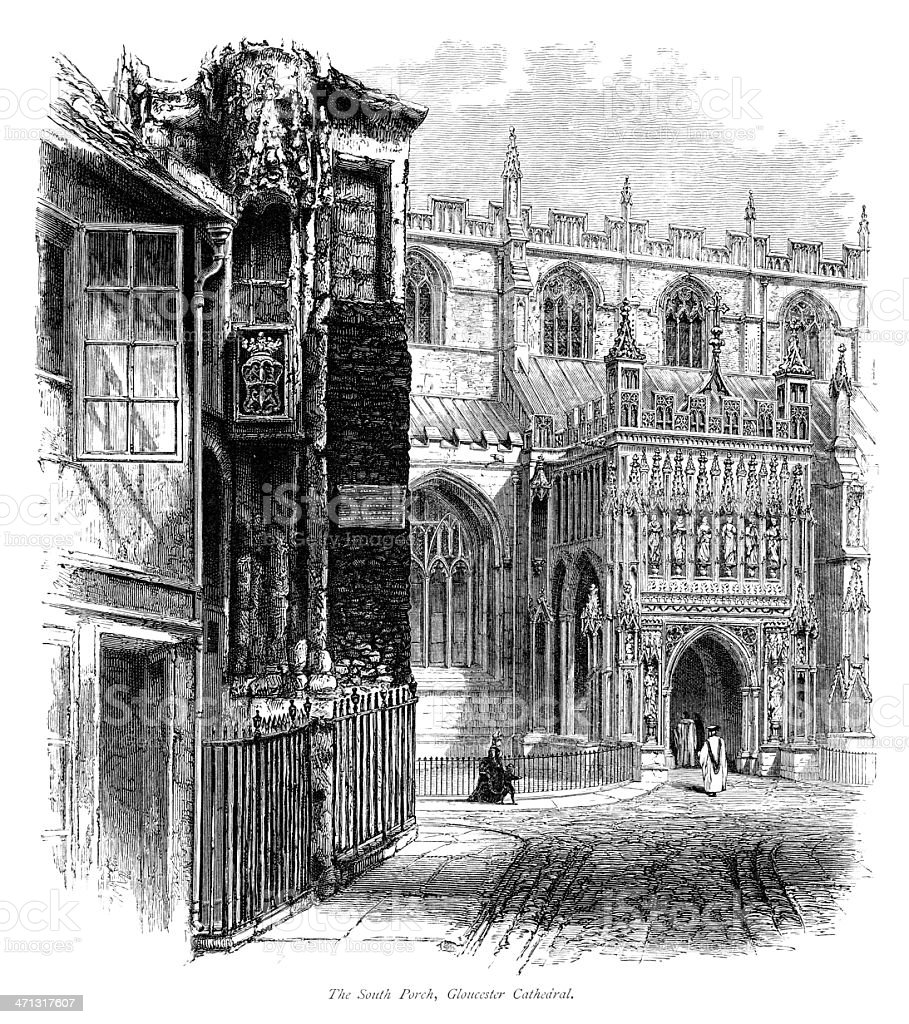 The South Porch, Gloucester Cathedral vector art illustration