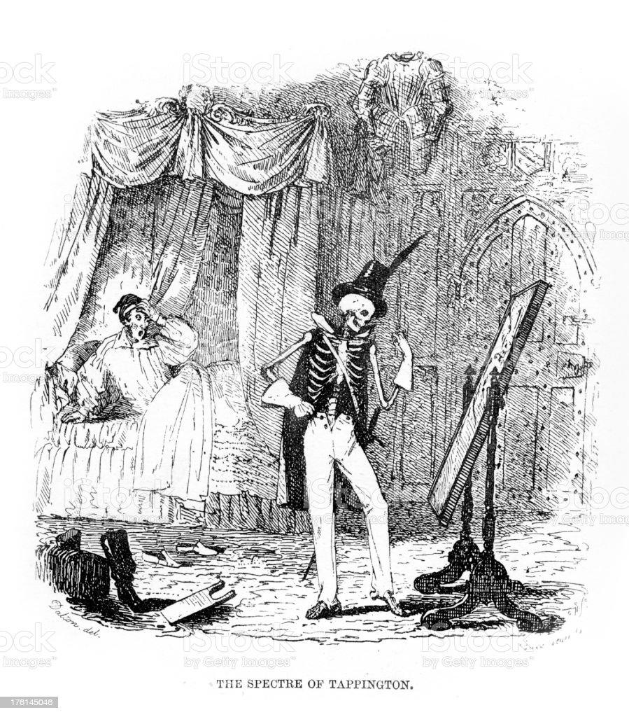 The Spectre of Tappington - Skeleton Horror vector art illustration