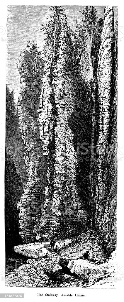 'The Stairway, Ausable Chasm, New York, wood engraving (1872)' vector art illustration