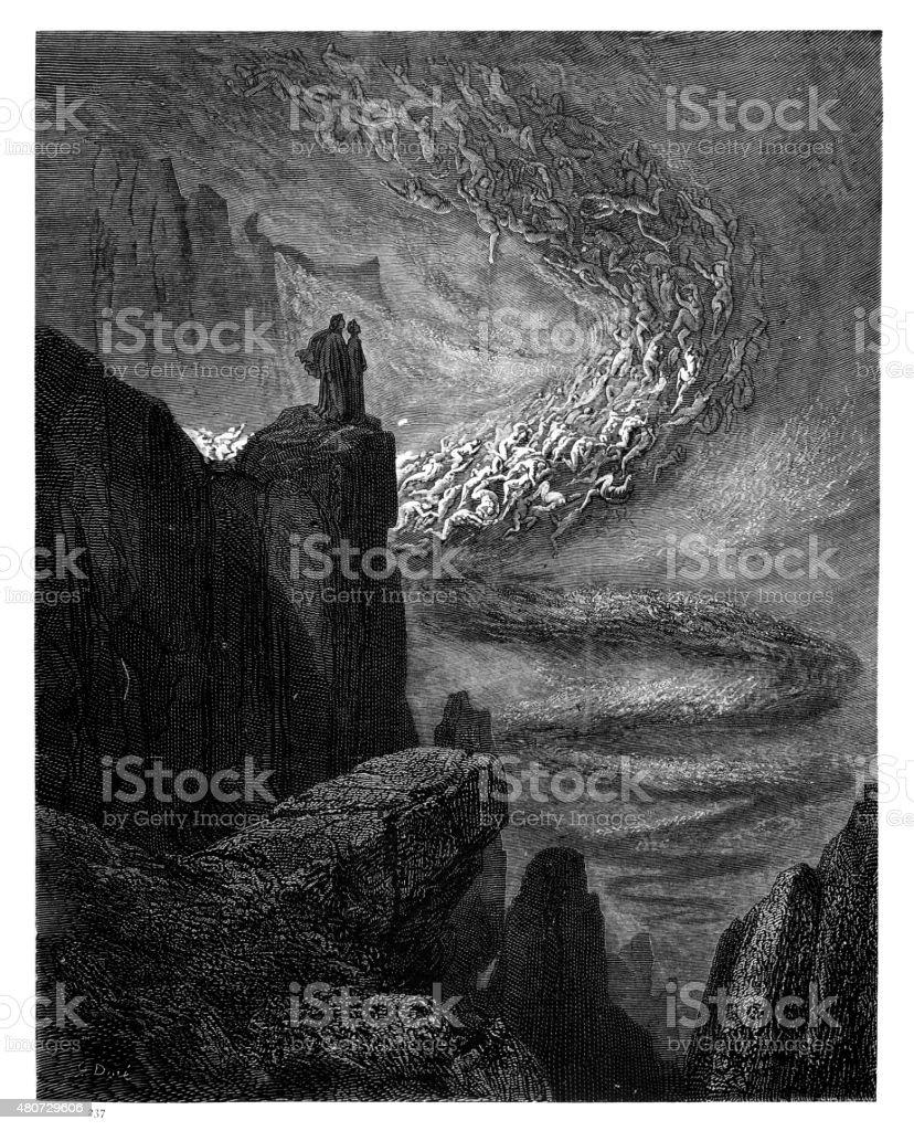 The stormy blast of hell engraving vector art illustration