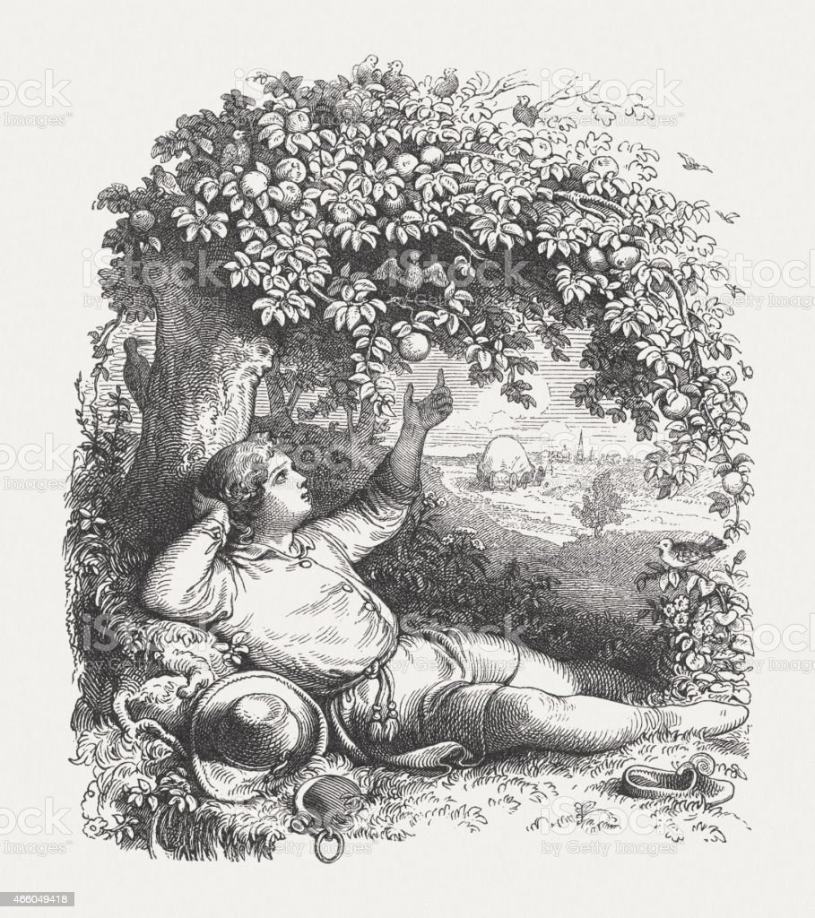 The Summer, wood engraving, published in 1860 vector art illustration