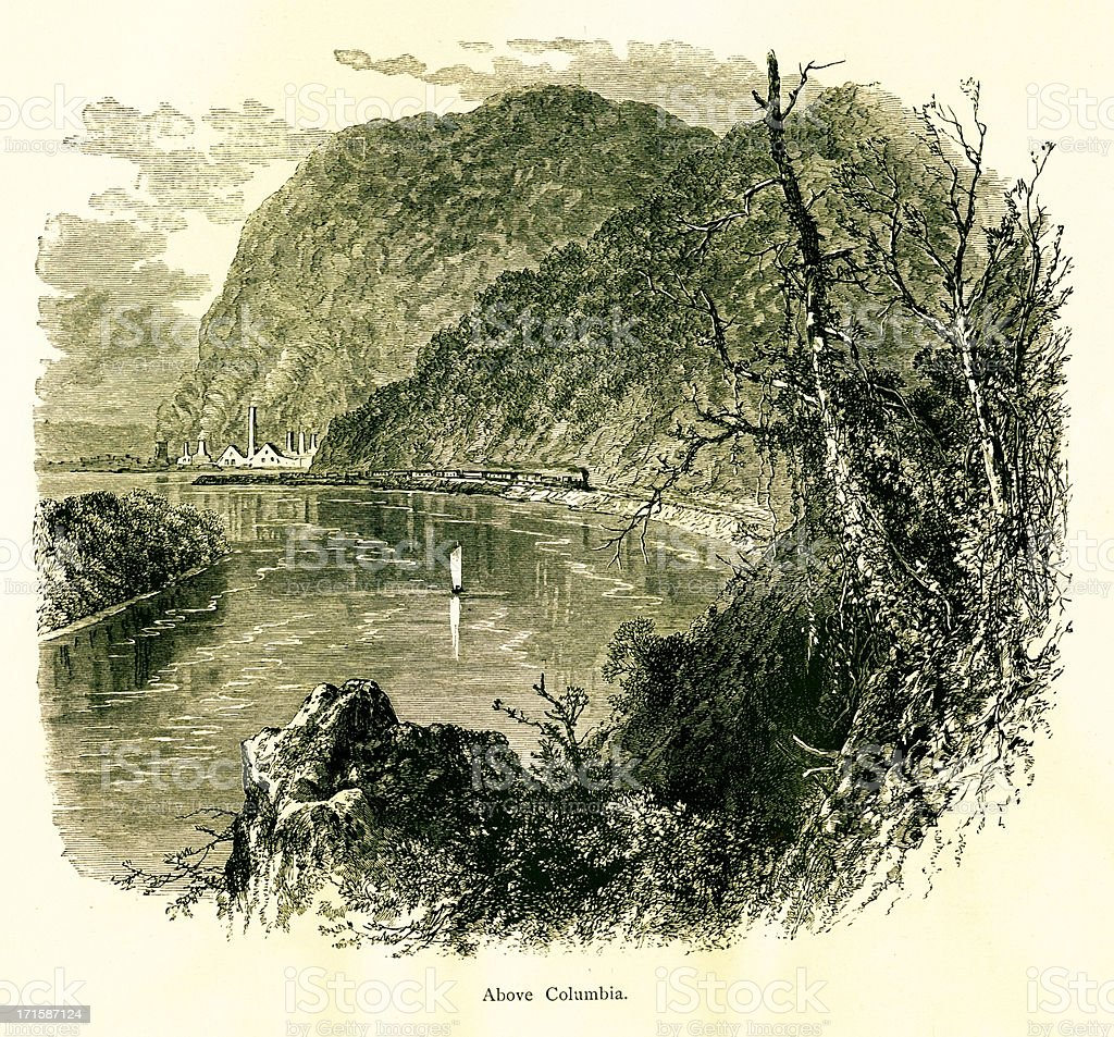 The Susquehanna River above Columbia, USA, wood engraving (1872) royalty-free stock vector art