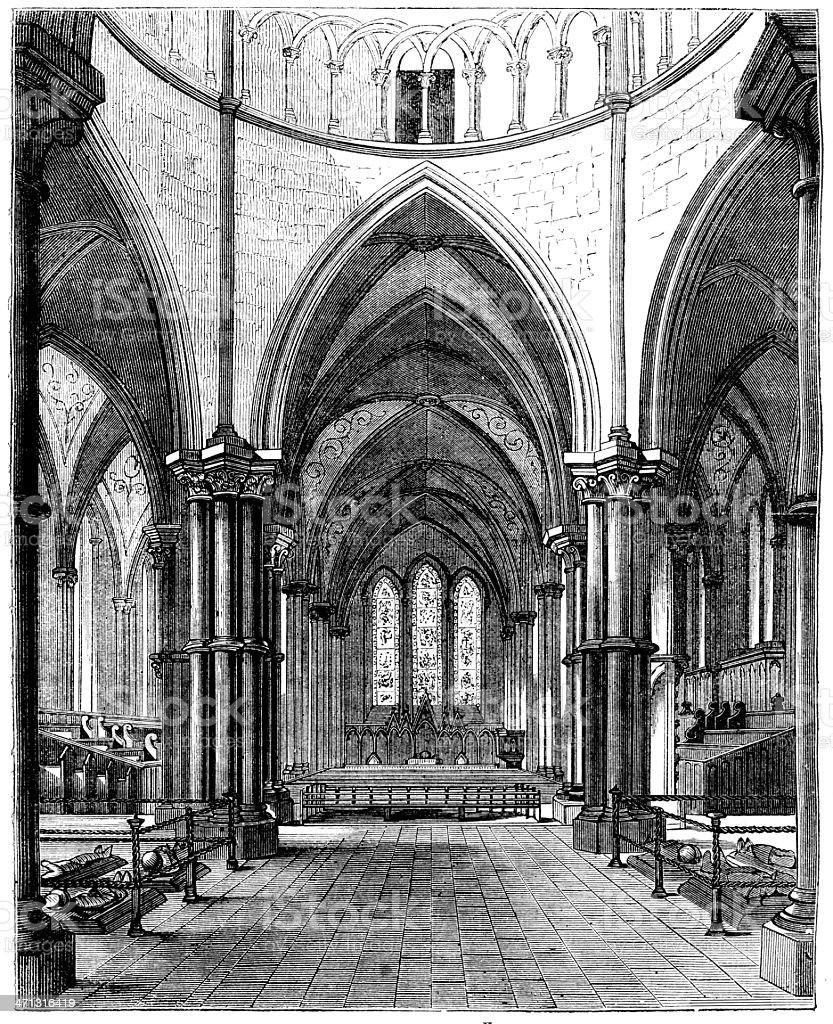 The templar church London England, Interior -  from 1868 magazine vector art illustration