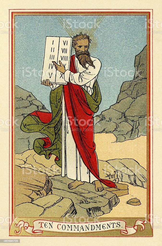 The Ten Commandments (Victorian religious book plate) vector art illustration