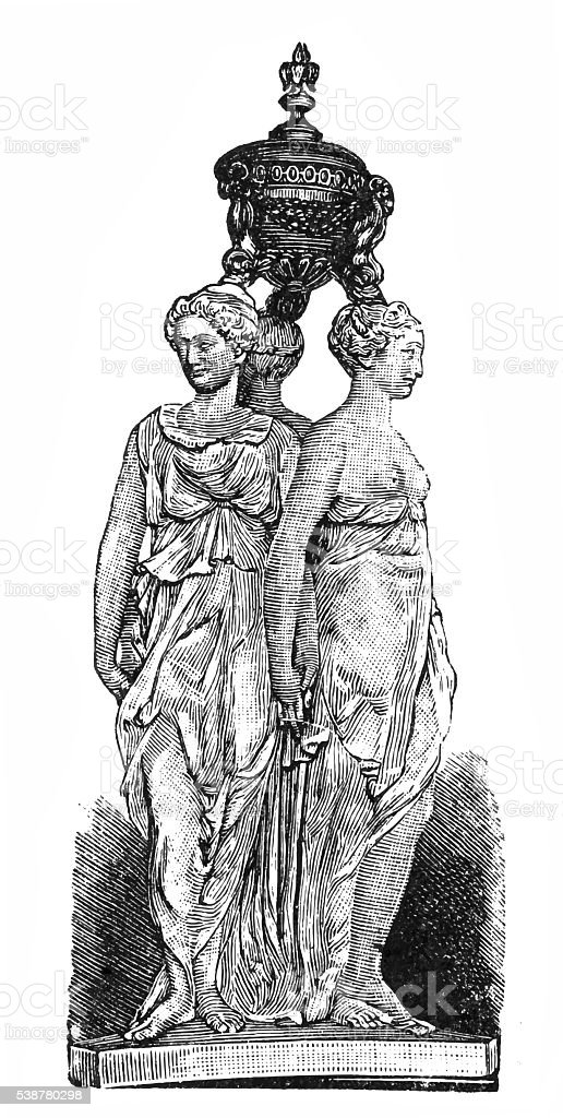 The Three Graces vector art illustration