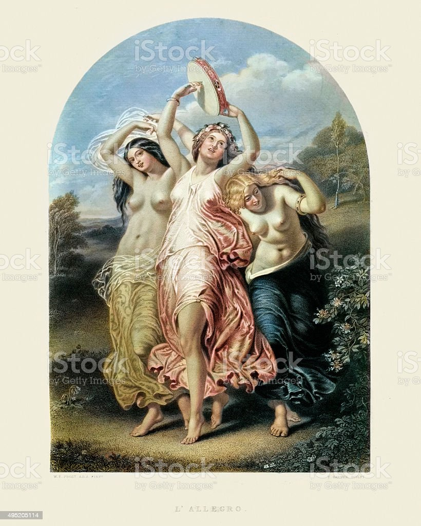 The Three Graces - L'Allegro by William Edward Frost vector art illustration