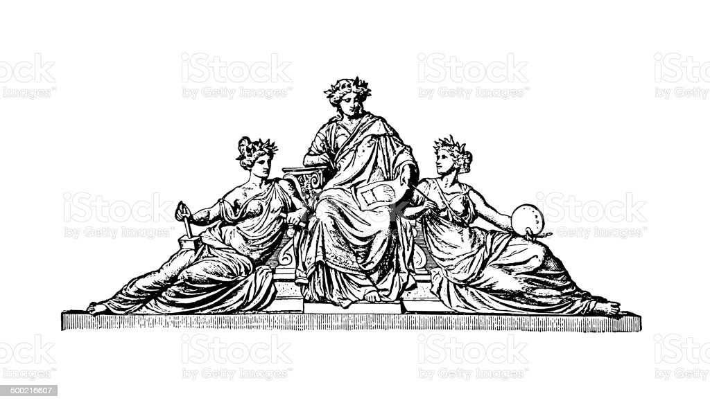 The Three Muses (antique engraving) vector art illustration