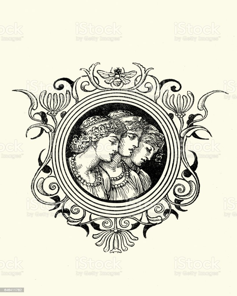 The Three Muses vector art illustration