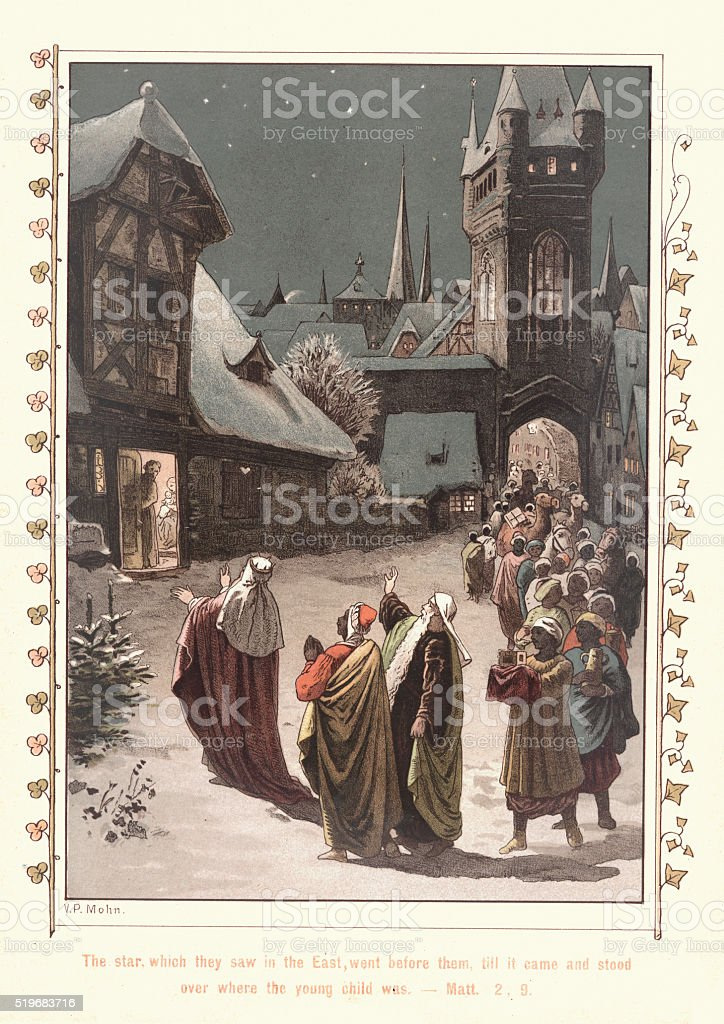 The Three Wise Men come to Bethlehem vector art illustration