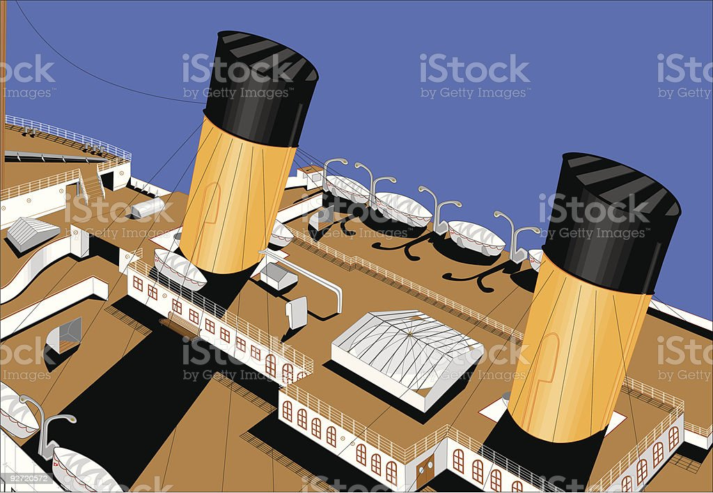 The Titanic deck vector art illustration