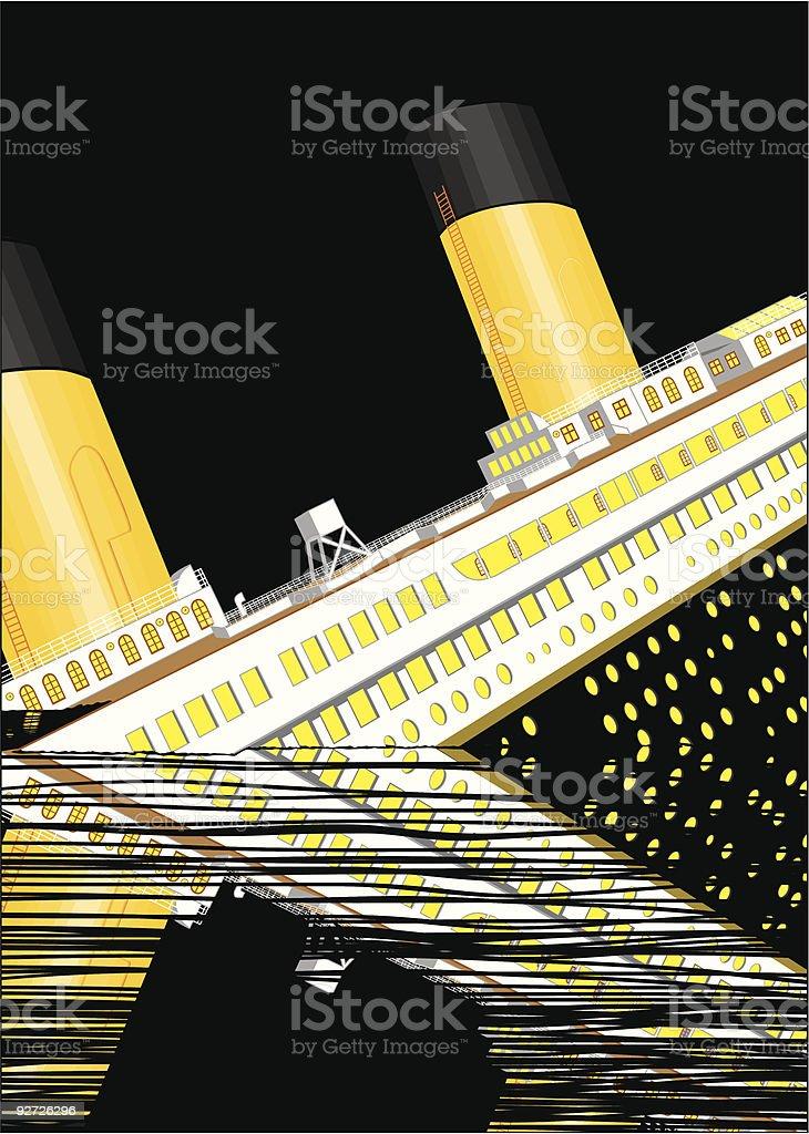 The Titanic sinking royalty-free stock vector art