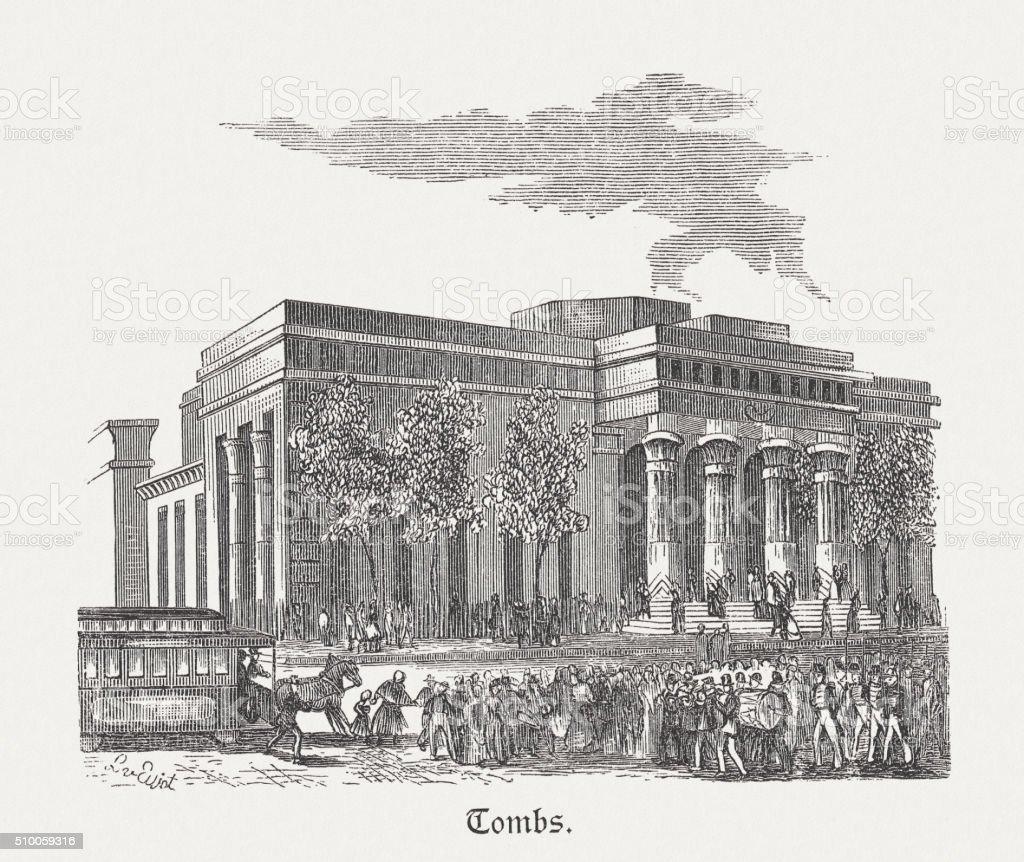 The Tombs - former prison in Manhatten, published 1880 vector art illustration