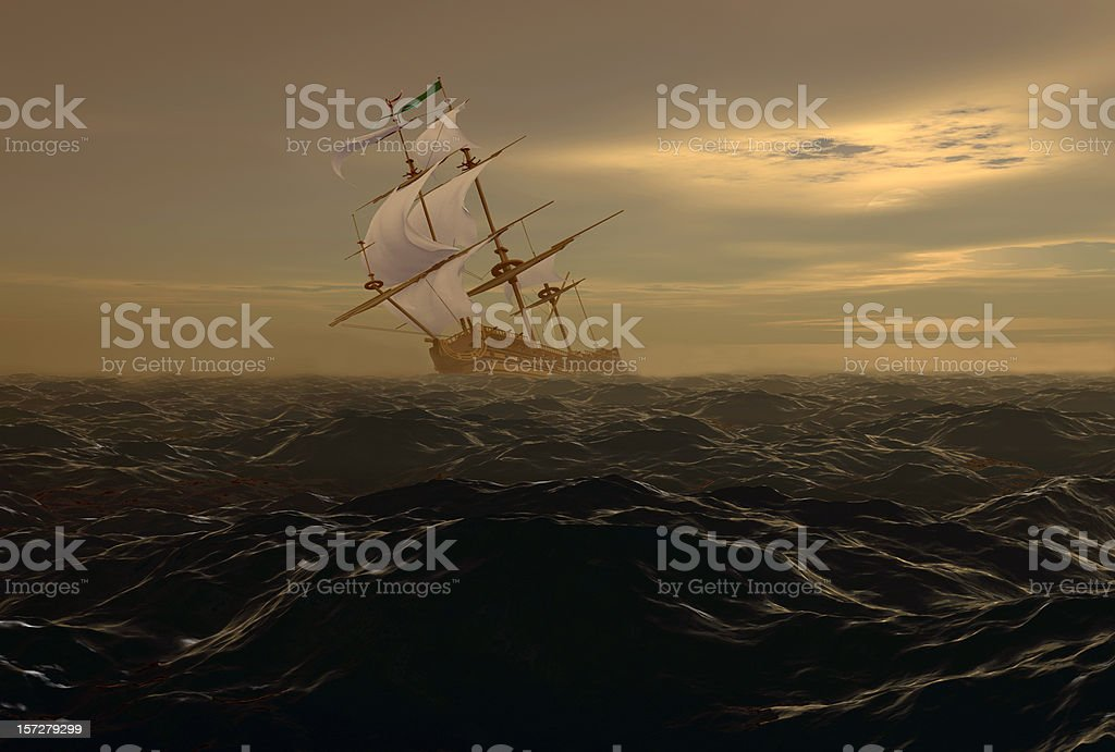The torn sail royalty-free stock vector art