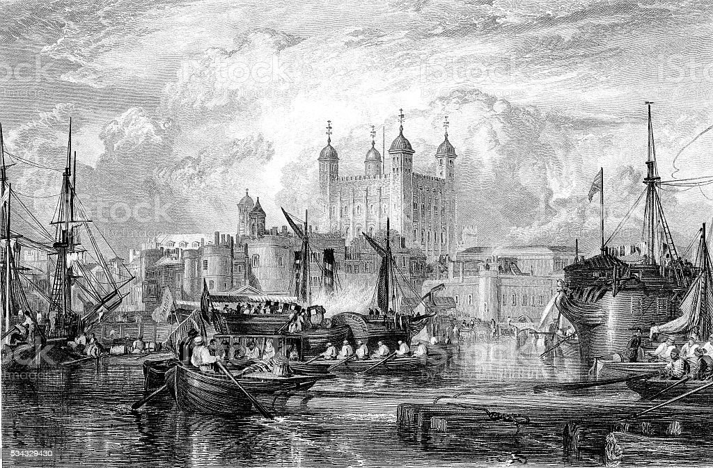 The Tower of London, engraved by Miller published 1831 (illustration) vector art illustration