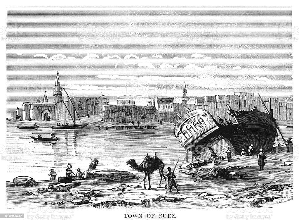 The Town of Suez, Egypt vector art illustration