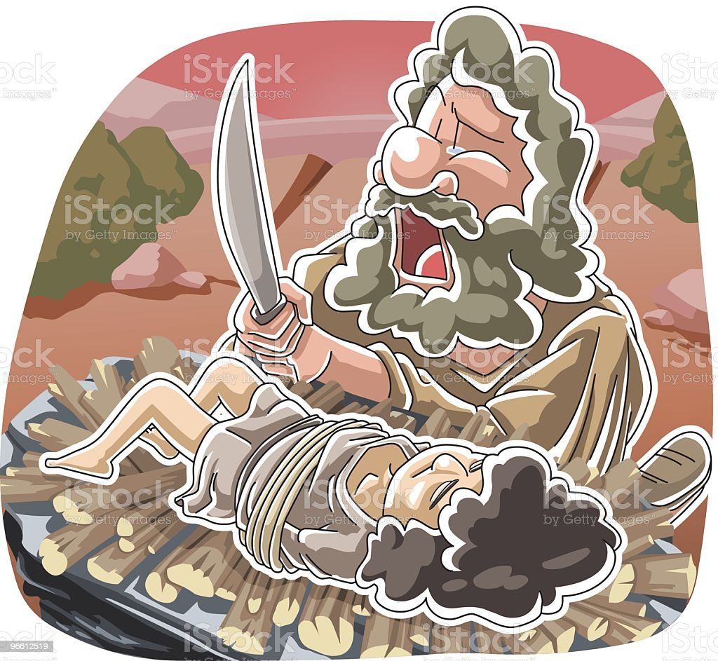 The trial of Abraham's faith vector art illustration