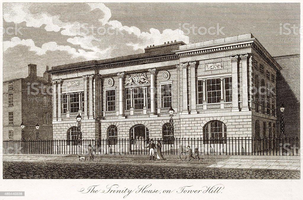 The Trinity House, London of 18th century vector art illustration
