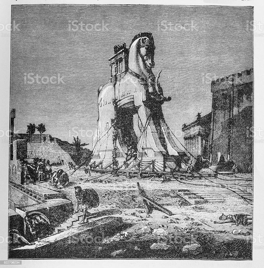 The Trojan Horse vector art illustration