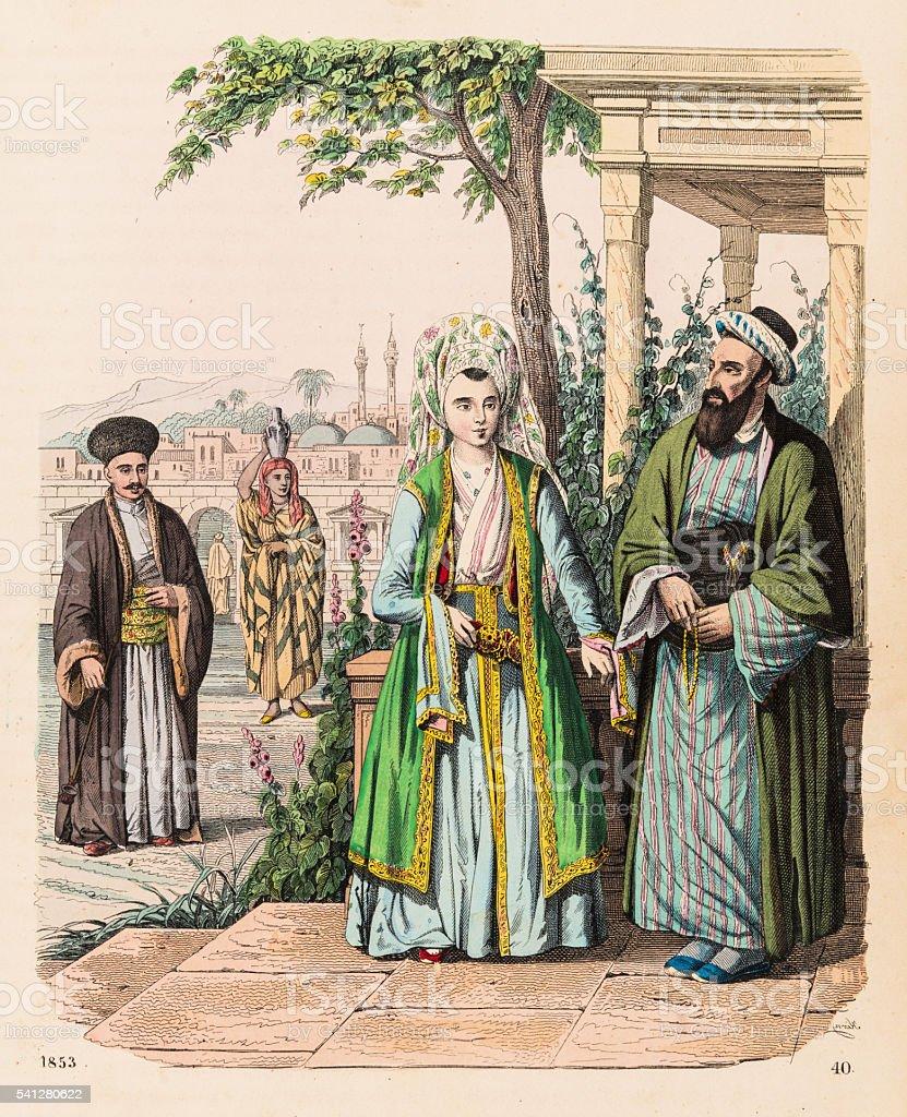The Turks illustration 1853 vector art illustration