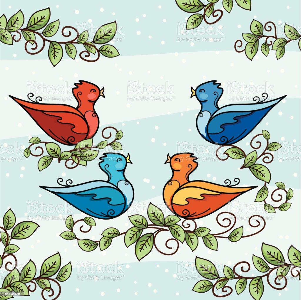 The Twelve days Of Christmas. Four Calling Birds royalty-free stock vector art