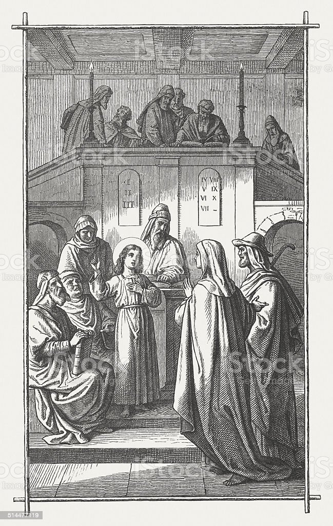 The twelve year old Jesus in the Temple, Luke 2 vector art illustration