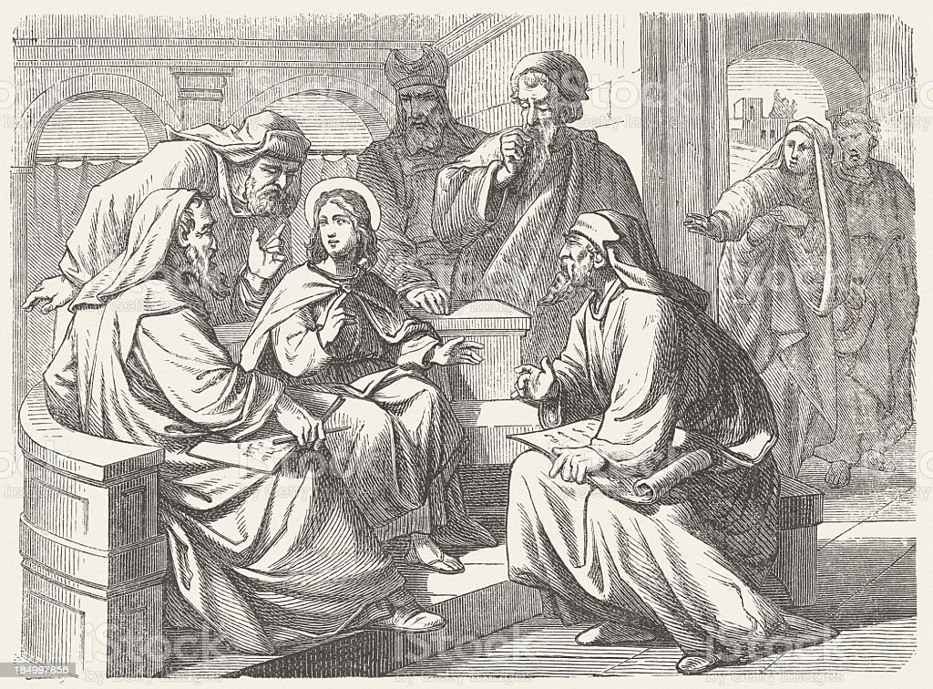 The twelve-year-old Jesus in the Temple (Luke 2), published 1877 vector art illustration