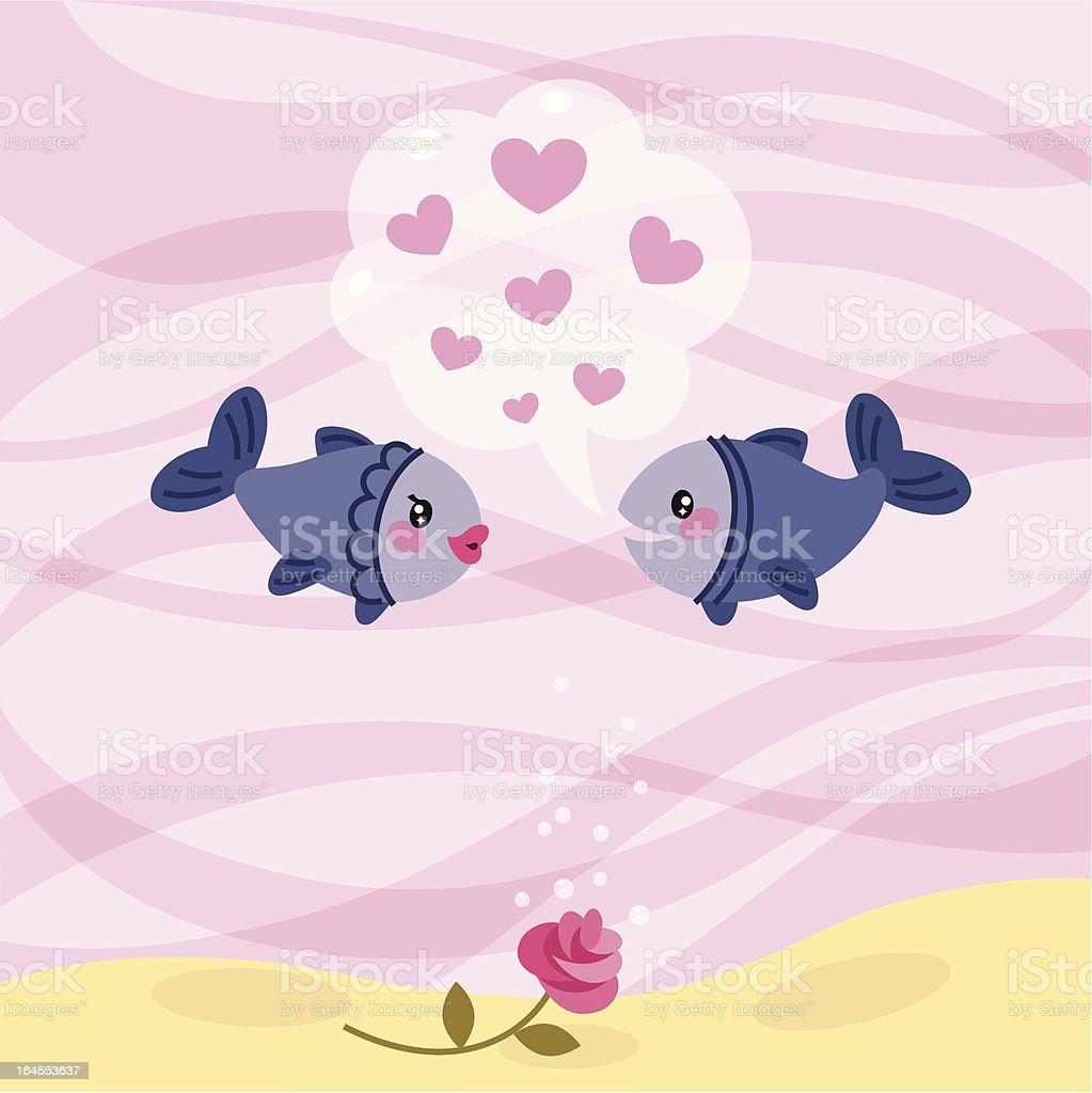 The Underwater Dating. vector art illustration