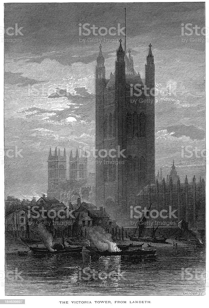 The Victoria Tower from Lambeth vector art illustration
