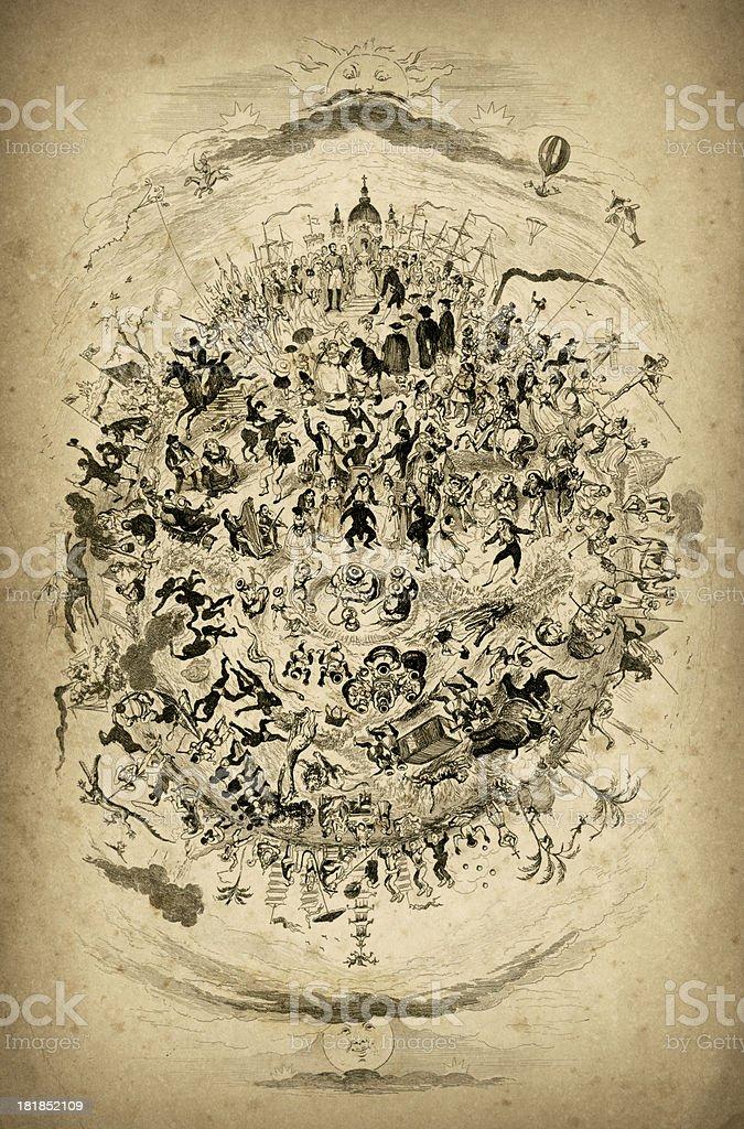 The Victorian World vector art illustration
