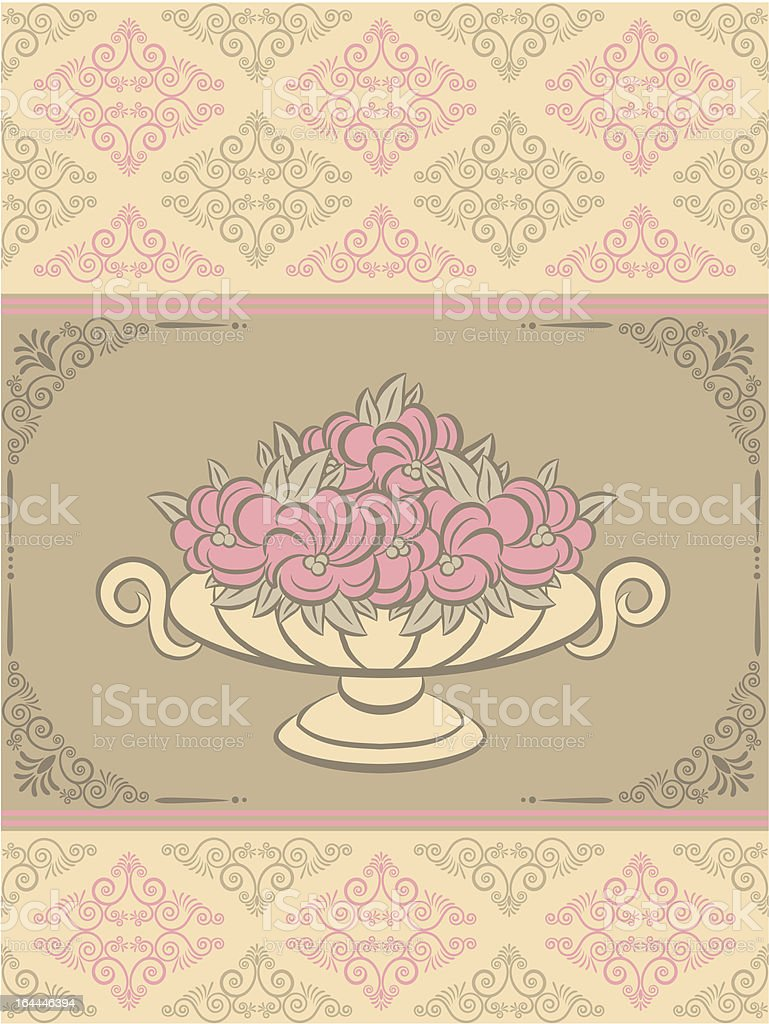 The vintage vase with flowers on tapestry background royalty-free stock vector art