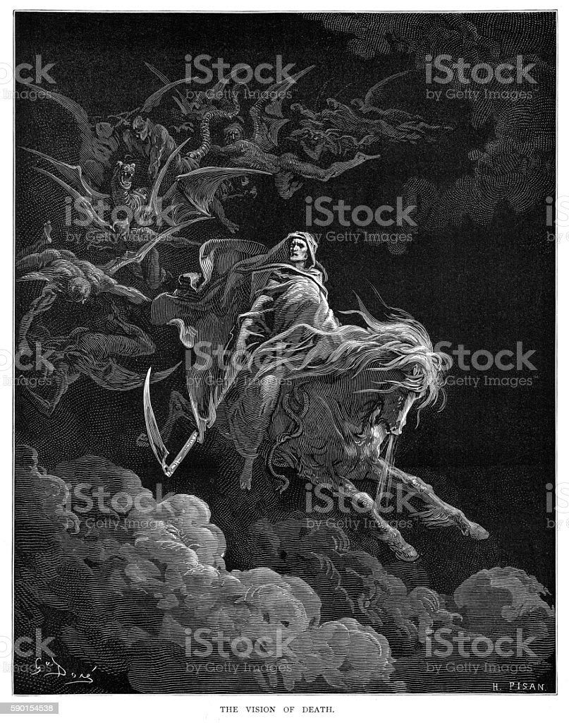 The vision of death engraving 1870 vector art illustration