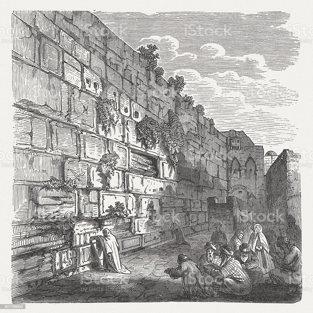 The Wailing Wall in Jerusalem, wood engraving, published in 1882 vector art illustration