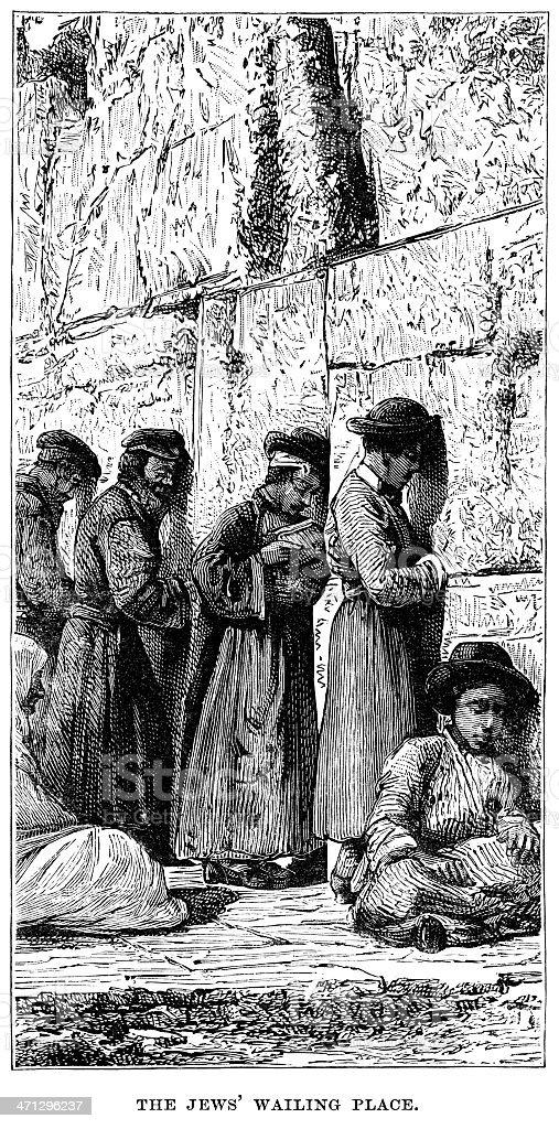 The Wailing Wall, Jerusalem vector art illustration