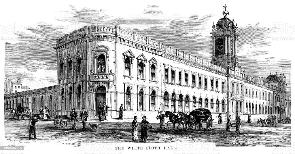The White Cloth Hall, Leeds (Victorian engraving) vector art illustration