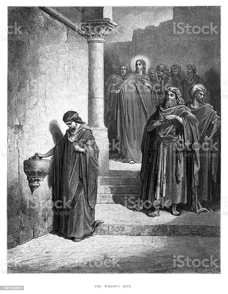 The widow's mite engraving 1870 vector art illustration