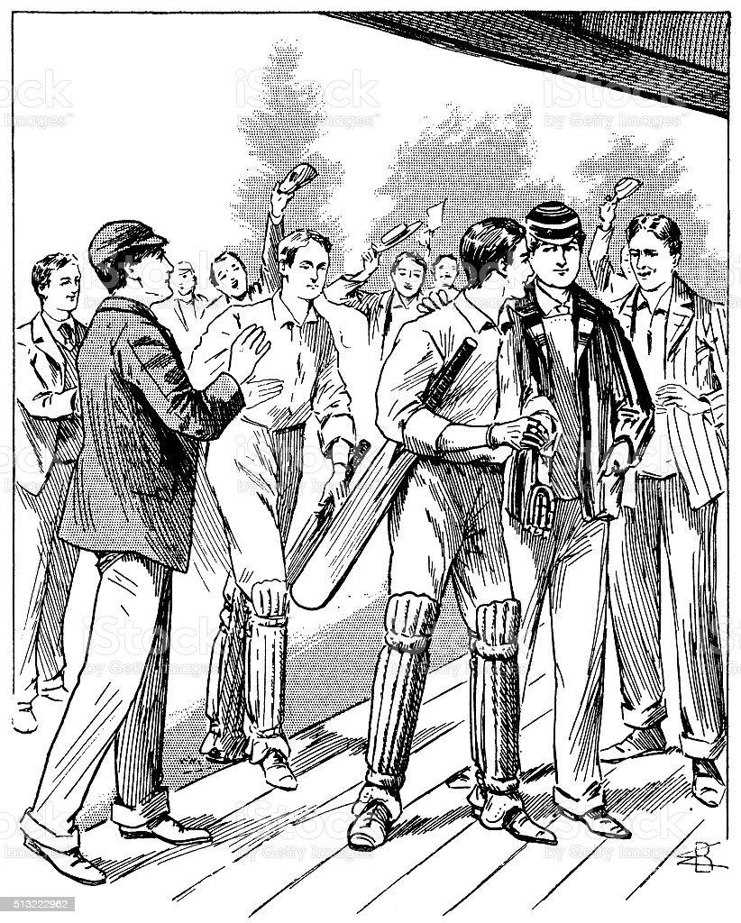 The winning team at a Victorian cricket match vector art illustration
